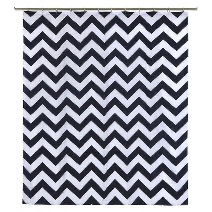 Rideau de douche noir et blanc zig zag polyester 180*200cm Wadiga ...