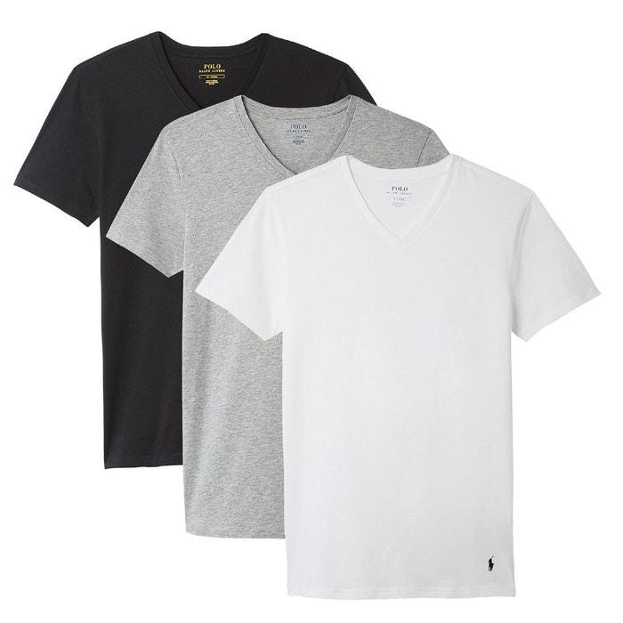 94ccbfc0e68756 T-shirt col v, lot de 3 blanc + gris chiné + noir Polo Ralph Lauren   La  Redoute