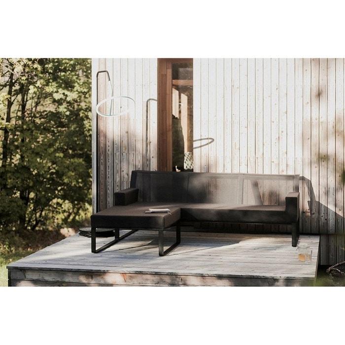 Salon de jardin design tissu noir canapé et pouf MOJA lampe LASO EGOE