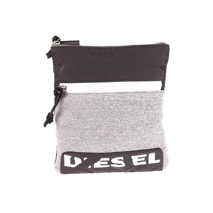 Sacoche plate porté croisé Diesel F-Scuba Cross noire à empiècement gris chiné IUk4Eb