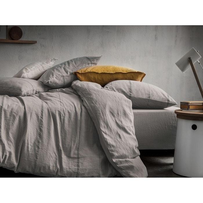 Housse de couette m tis lin et coton gris avec rayures - Housse de couette gris et blanc ...