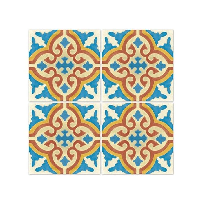 Stickers pour carrelage de salle de bain ou cuisine rimal bleu/rouge ...