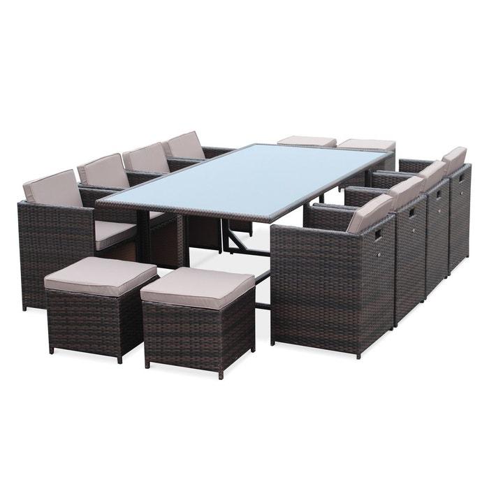 Salon de jardin vasto chocolat table en r sine tress e 8 - La redoute salon de jardin ...