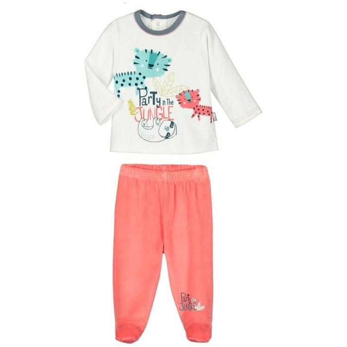 27530adf6be2f Pyjama bébé 2 pièces velours avec pieds party jungle ecru Petit Beguin
