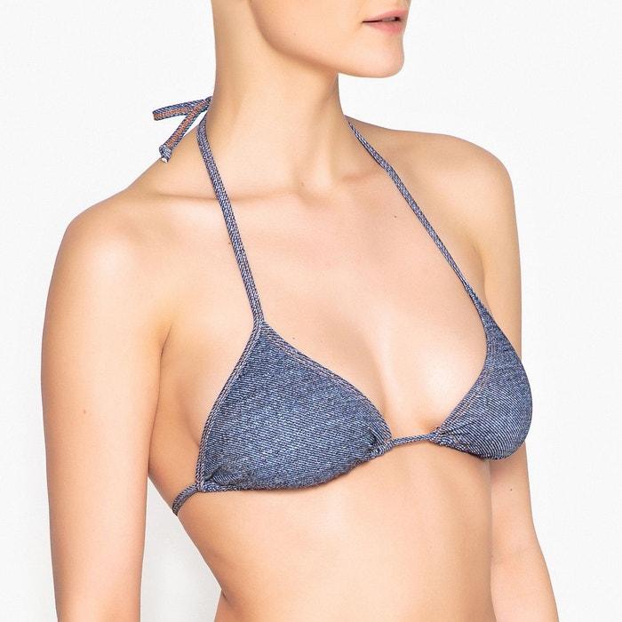 dff64833b6 Haut de maillot de bain triangle sans armatures bleu jean La Redoute  Collections | La Redoute