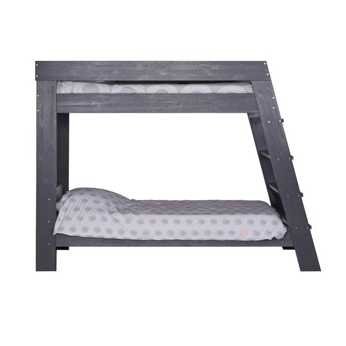 lit superpos bois massif 90x200 gris acier elo se. Black Bedroom Furniture Sets. Home Design Ideas