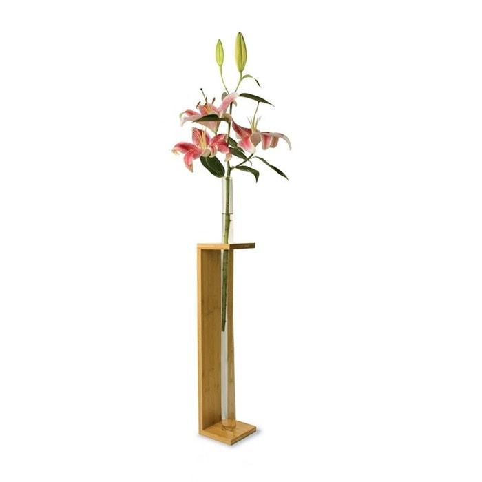 vase en verre transparent 1 tube socle en bambou blanc tung design la redoute. Black Bedroom Furniture Sets. Home Design Ideas