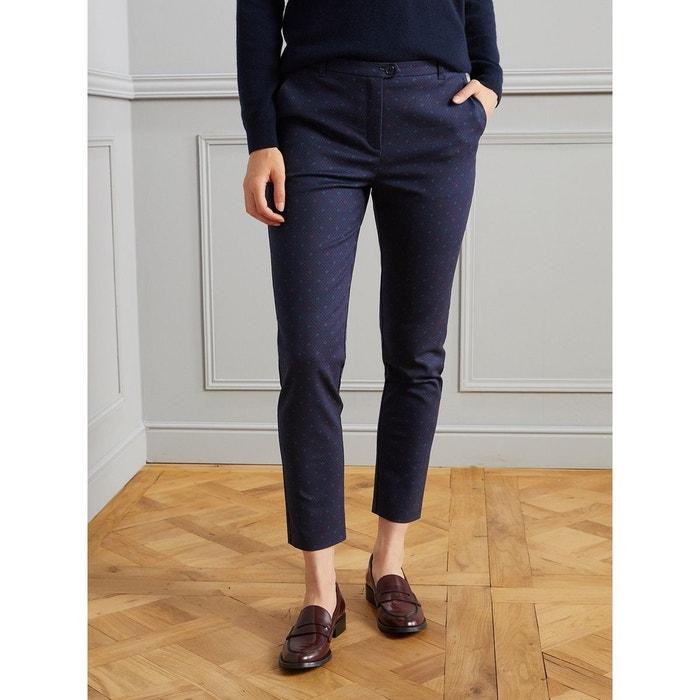 9ff6e71c0a5e0 Pantalon cigarette femme en coton stretch bleu foncé imprimé Cyrillus   La  Redoute