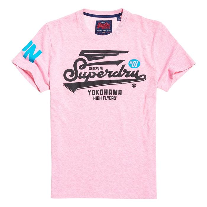 manga estampado corta Camiseta cuello y delante con redondo de SUPERDRY x8qzgwXHX