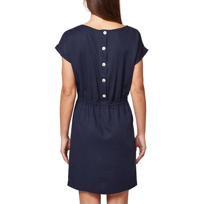 ajustado redondo corta cintura de manga Vestido y ESPRIT la con cuello en BqScwAWn