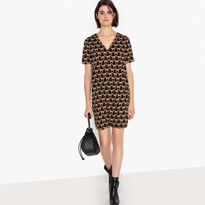 V-Back Fox Print Shift Dress  La Redoute Collections image 0