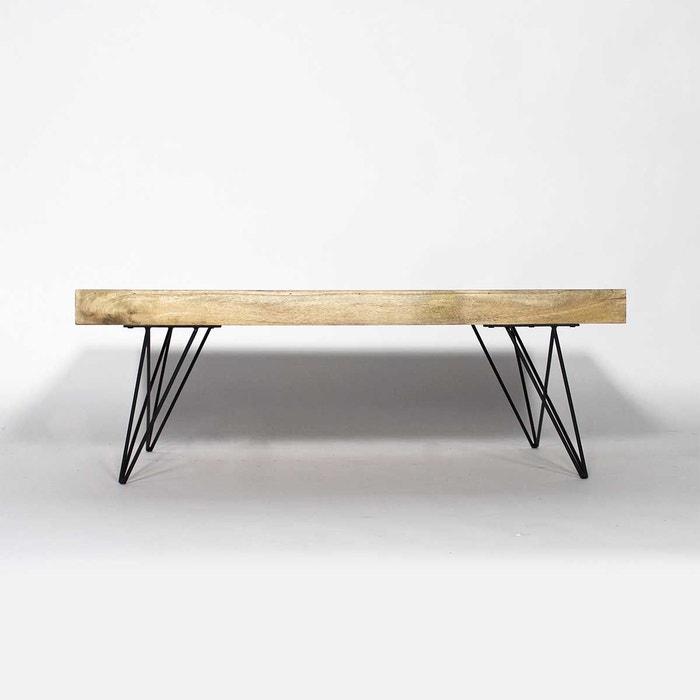 Table basse bois metal style scandinave bt0278x naturel for Table exterieur la redoute