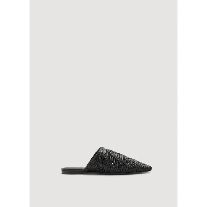Réduction Authentique En Ligne 2018 Nouvelle Babouches tressées cuir noir Mango Livraison Gratuite À Faible Frais D'expédition fLNhDrGz