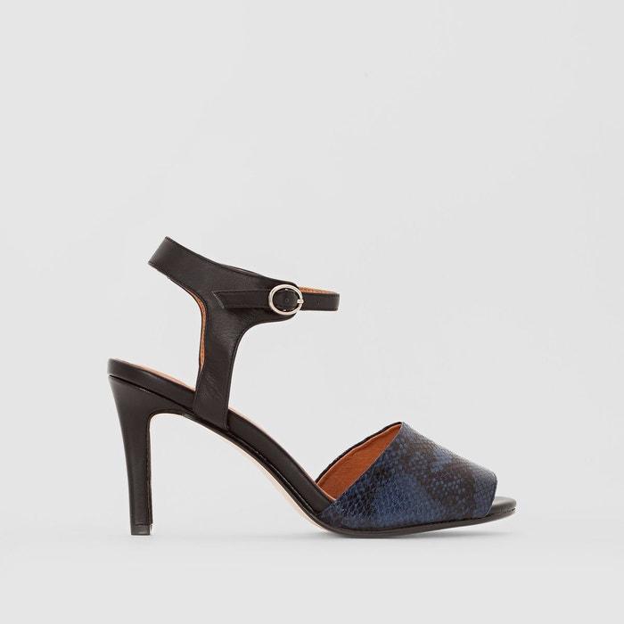 Sandales cuir bleu marine La Redoute Collections   La Redoute 47a750cd89fe