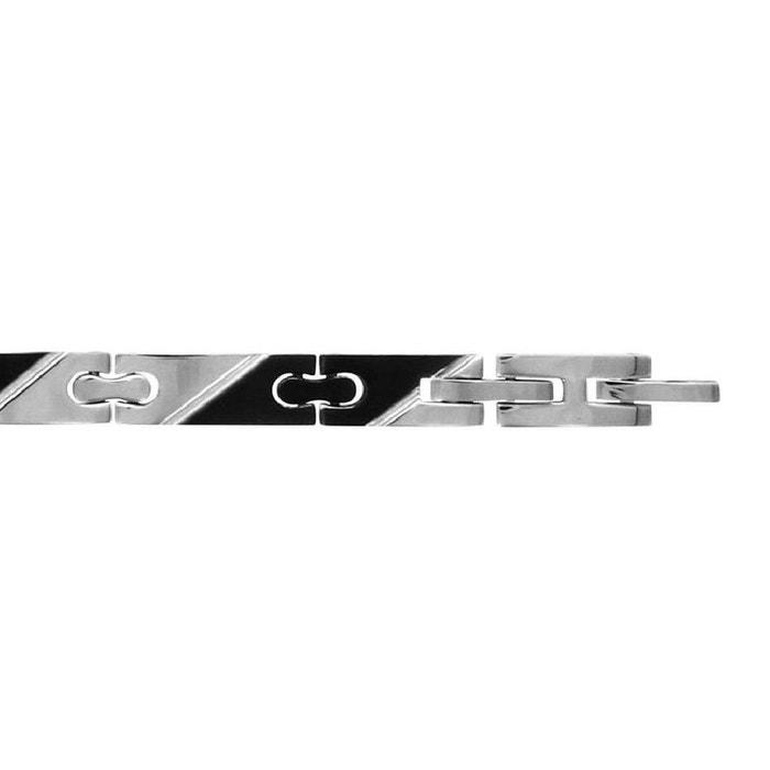 Nouveau Prix Pas Cher Bracelet homme longueur réglable: 19 à 20 cm maille bicolore argenté & noir acier inoxydable couleur unique So Chic Bijoux | La Redoute Prix Bas Sortie 2018 2pQMbv0S