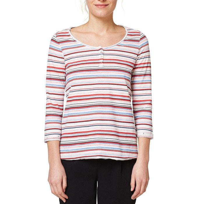 T-shirt a righe, scollo rotondo bottoni, puro cotone  ESPRIT image 0