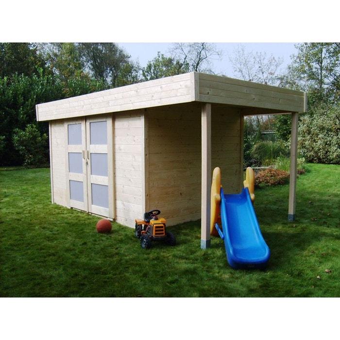 Abri jardin bois larvik m x x m 28 mm bois clair h j habitat et for Abri de jardin en bois la redoute