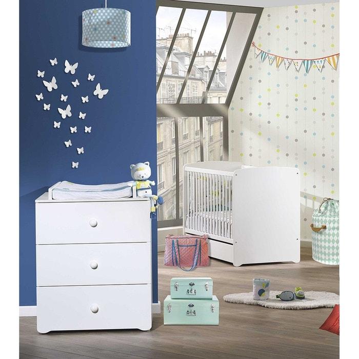 Chambre b b duo lit 120x60 et commode langer 3 tiroirs basic baby price blanc baby price la - La redoute chambre bebe ...