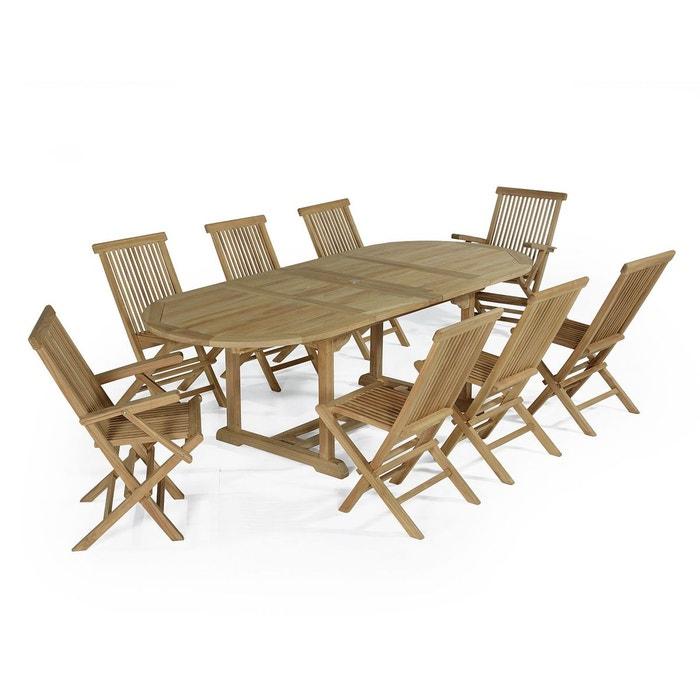 Salon de jardin en teck ecograde bora-bora, table extensible avec 2 ...