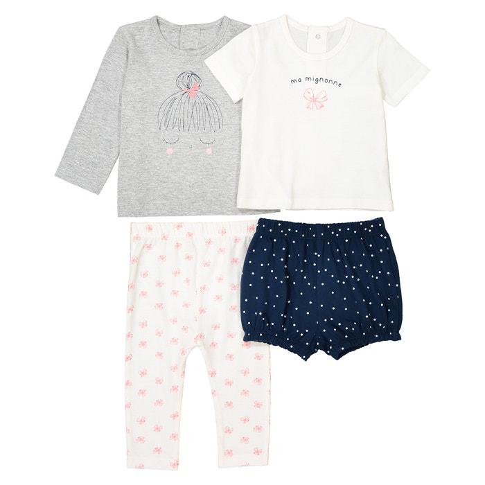 b52d4471e3d Pijama estampado de algodón 0-3 años (lote de 2) azul marino + crudo La  Redoute Collections