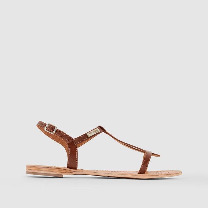 Sandales cuir plates hamess tan Les Tropeziennes Par M Belarbi