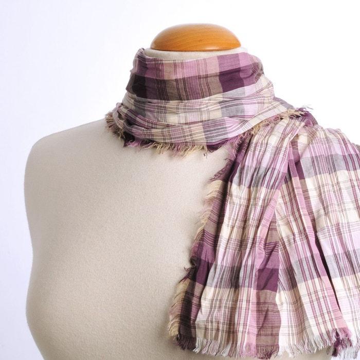 24007842bcf Echarpe madras pur coton mauve   violet mauve Allee Du Foulard