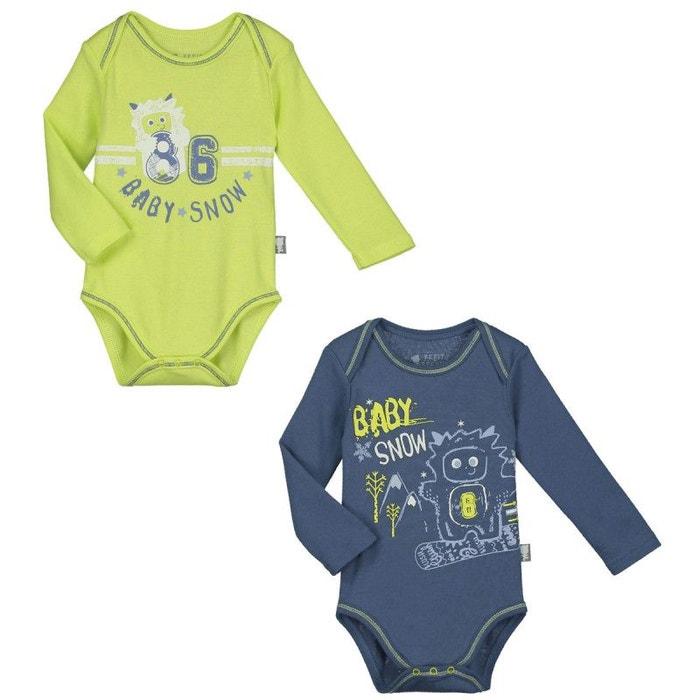 Lot de 2 bodies manches longues bébé garçon babysnow multicolore Petit  Beguin  aae0e5a0d82