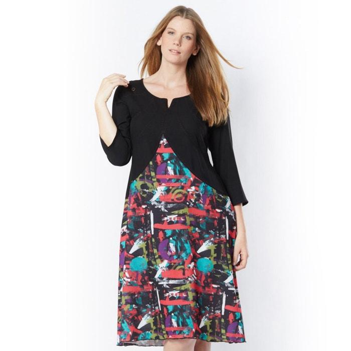 Imagen de Vestido largo en dos tejidos TAILLISSIME