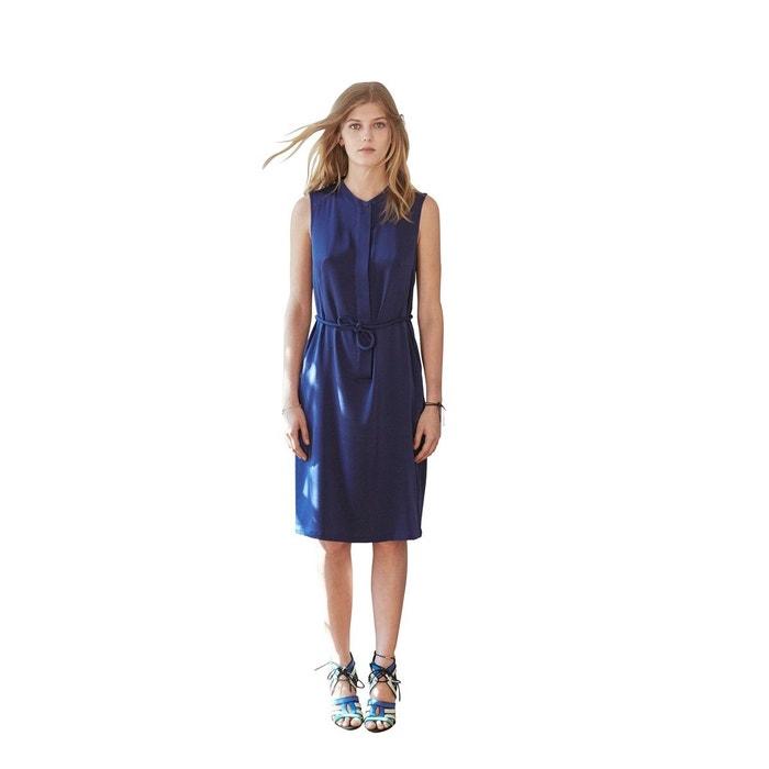 4e10884042e Elégante robe de soirée chemise en soie bleu marine indémodable simple et  chic bleu marine Sunday Life
