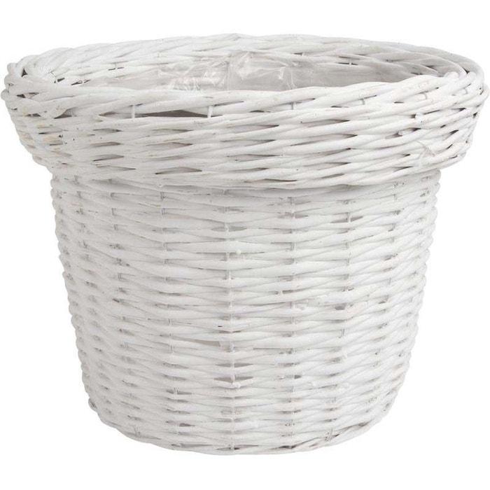 cache pot rond en osier laqu lot de 3 blanc aubry gaspard la redoute. Black Bedroom Furniture Sets. Home Design Ideas