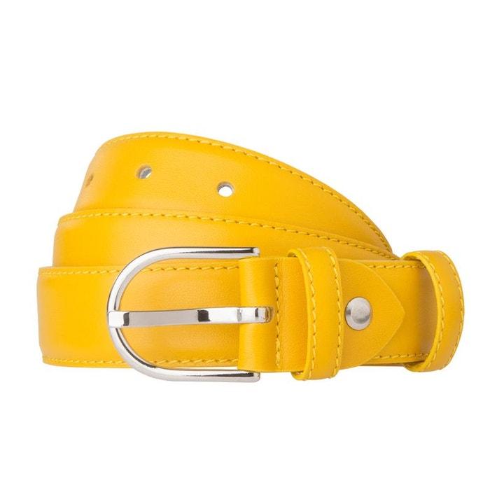 50aa0065703 Dudu ceinture pour femme made in italy en cuir souple nappa de vachette de  28 mm réglable avec boucle à ardillon jaune Dudu
