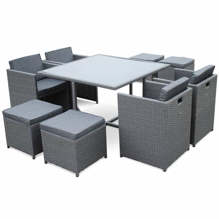Salon de jardin vasto gris table en r sine tress e 4 8 - Meuble de maison et jardin en c 94 secondes ...
