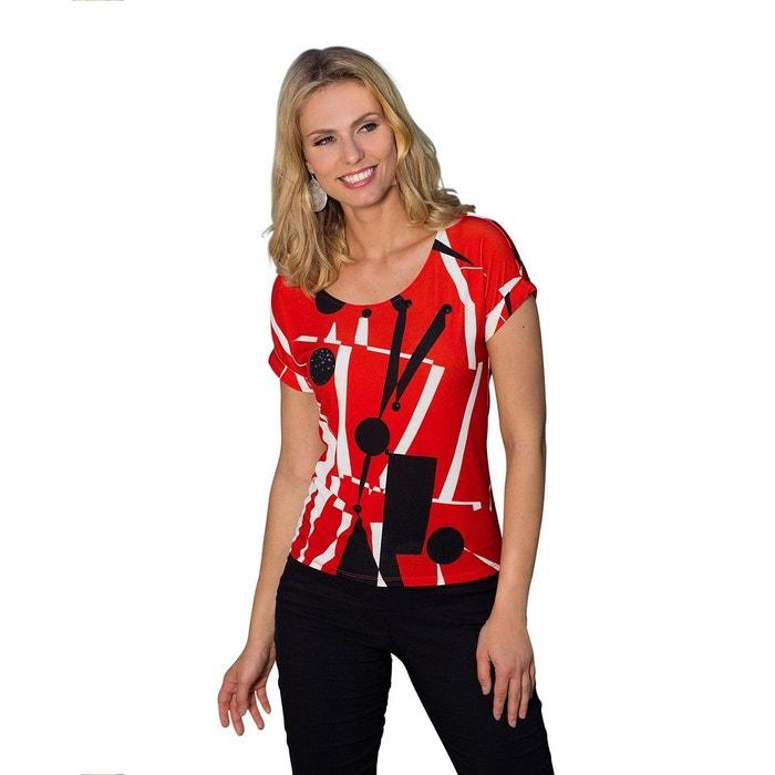 Mango Femme Chic Abstrait Tshirt Rouge Ete Motif L4R3q5Aj