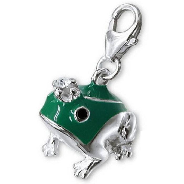 Grenouille Couronne charm pampille à fermoir grenouille verte couronne blanc argent 925