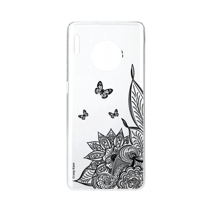 Coque pour Huawei Mate 30 Pro souple Mandala Fleur et Papillon noir