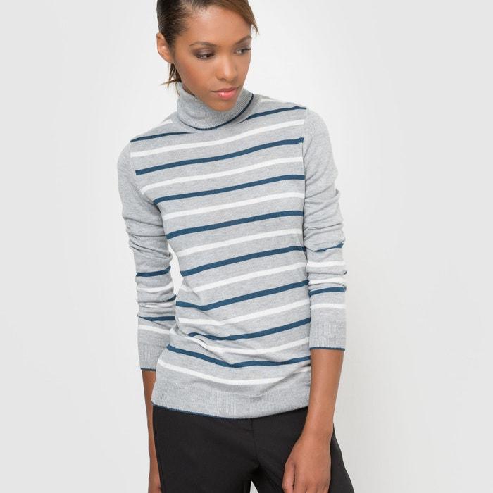 Imagen de Jersey a rayas de cuello alto, de mezcla de lana R essentiel