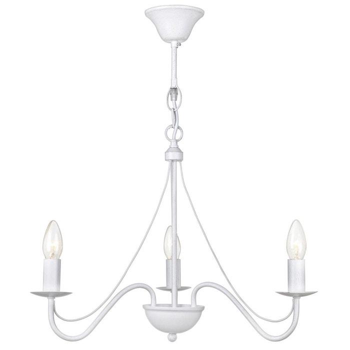 lustre 3 ampoules camille blanc en fer forg blanc keria la redoute. Black Bedroom Furniture Sets. Home Design Ideas