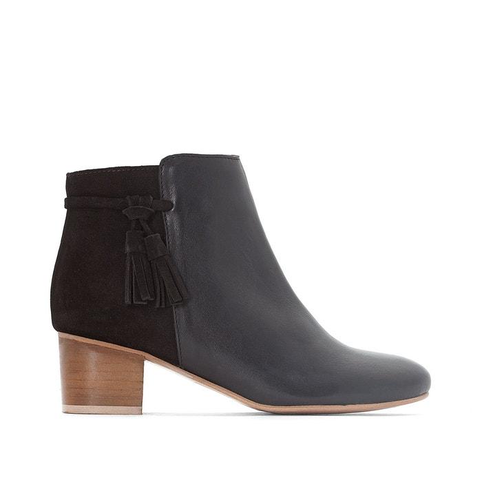 Boots cuir détail pompon La Redoute Collections (1) ...