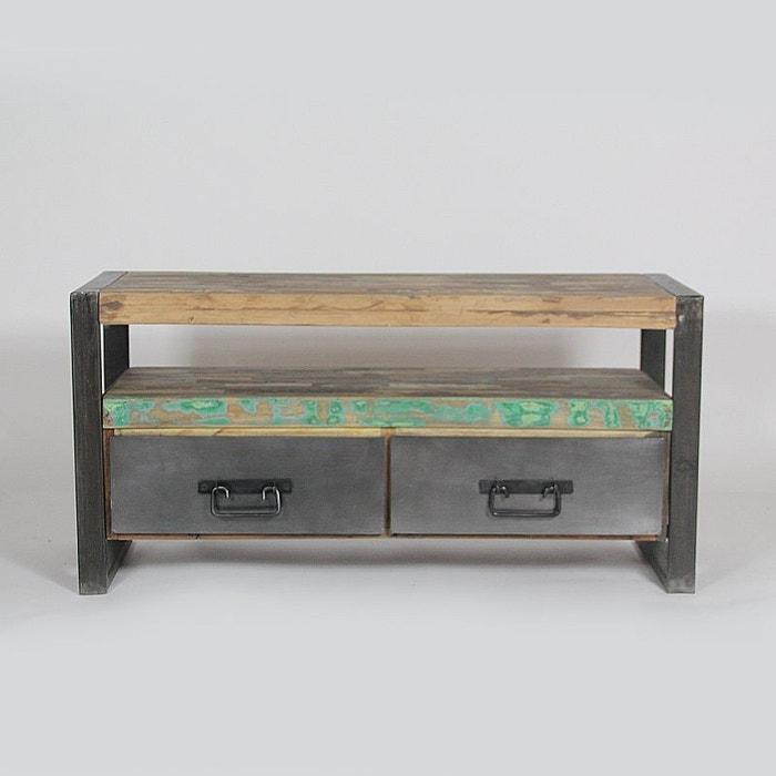 meuble tv industriel 2 tiroirs bois et m tal mox11 bois made in meubles la redoute. Black Bedroom Furniture Sets. Home Design Ideas