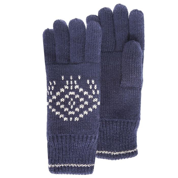 Gants enfant jacquard géométrique fil textile marine Isotoner   La Redoute 3b6844d9058
