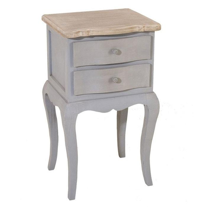 table de chevet 2 tiroirs bois gris calie gris et plateau c rus pier import la redoute. Black Bedroom Furniture Sets. Home Design Ideas