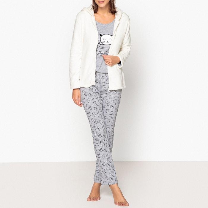 7c95cf66b0fc3 Cat hug slogan 3-piece pyjama set , grey/white, La Redoute Collections | La  Redoute