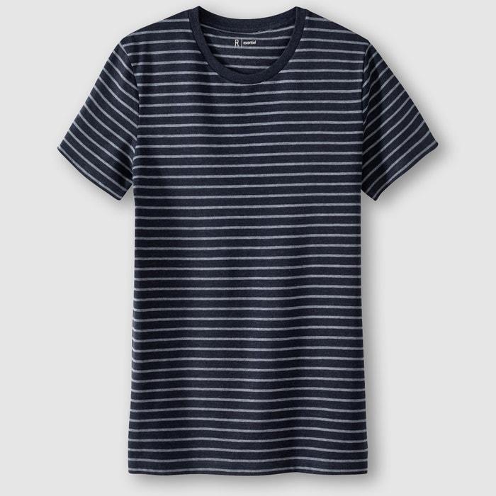 Image T-shirt col rond rayé 100% coton R essentiel