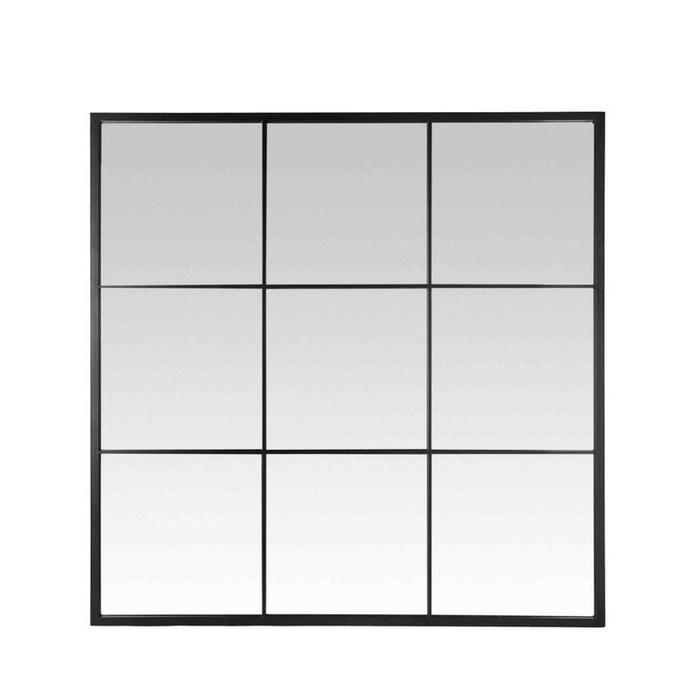 Miroir fen tre style industriel 100x100 jules noir drawer for Fenetre 100x100