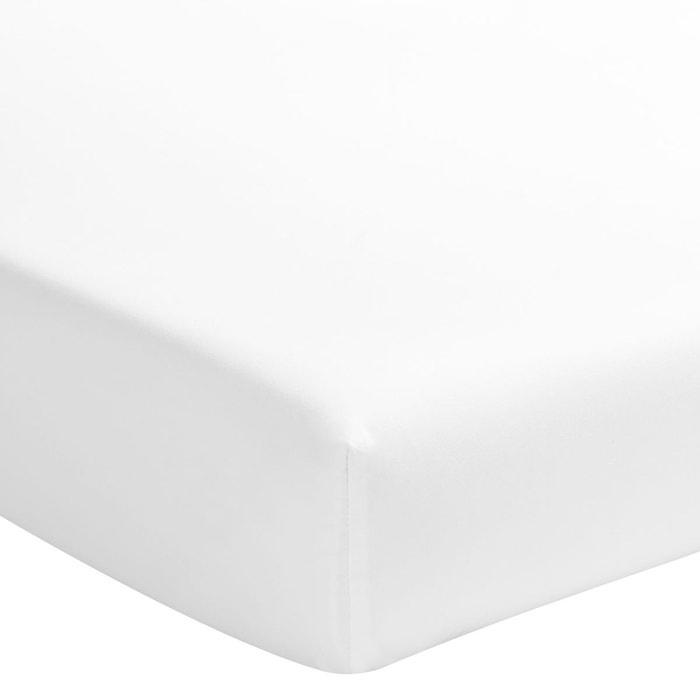 Drap housse uni en satin de coton blanc blanc essix la - Drap housse grande taille ...