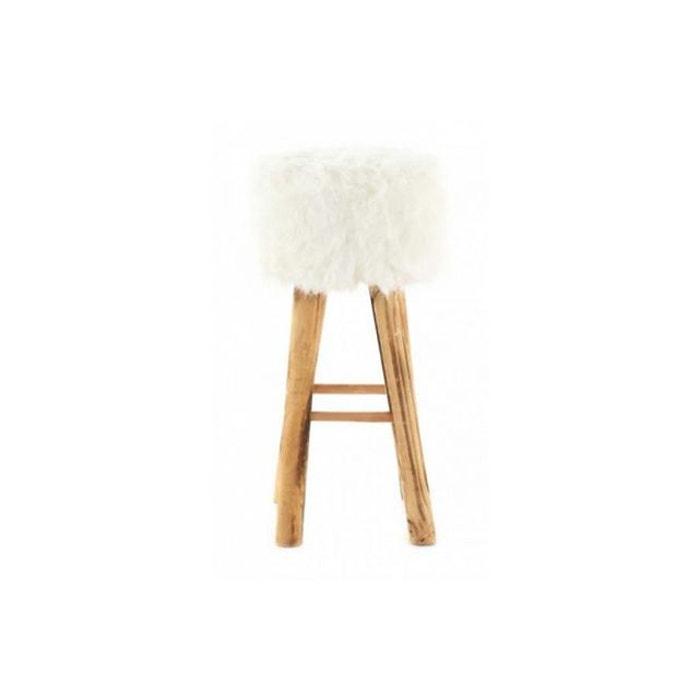 Tabouret imitation fourrure et pin massif blanc yeti blanc ...
