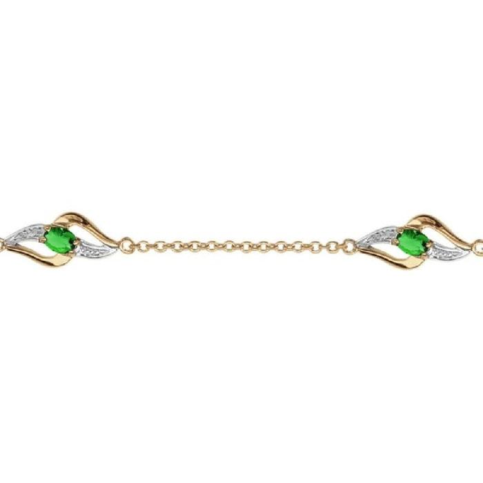 Bracelet longueur réglable: 16 à 19 cm 3 oxyde de zirconium vert plaqué or 750 couleur unique So Chic Bijoux | La Redoute