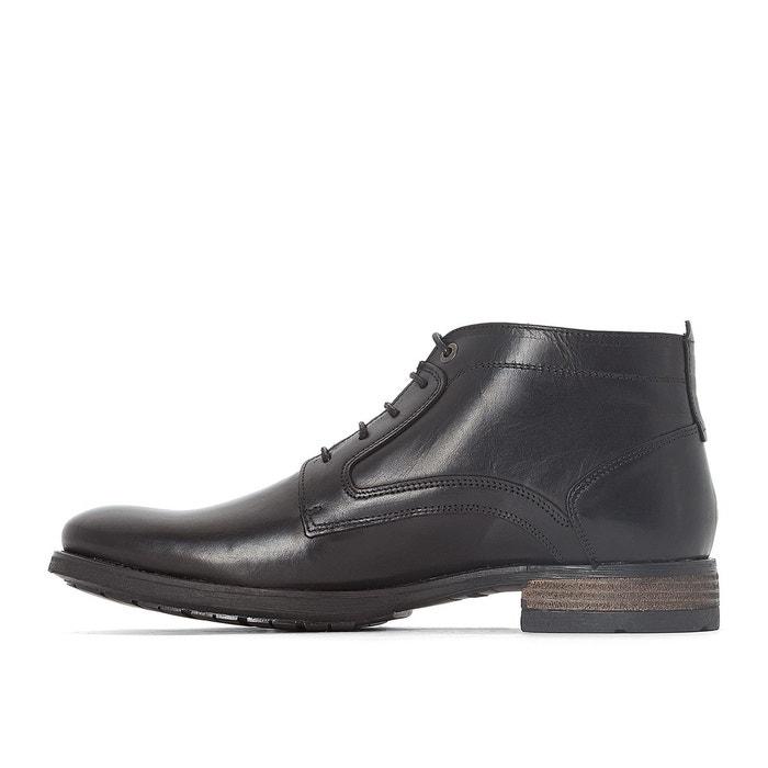 Boots cuir filet noir Redskins
