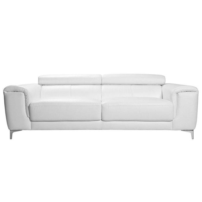 la meilleure attitude 921c0 c1905 canapé cuir design 3 places avec têtières relax NEVADA - cuir de buffle