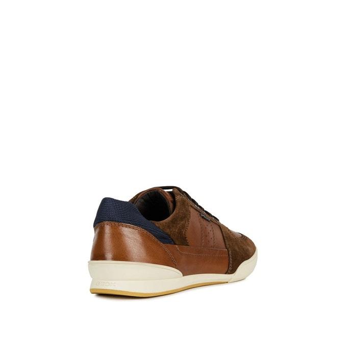 Baskets respirantes en cuir kristof marron Geox   La Redoute